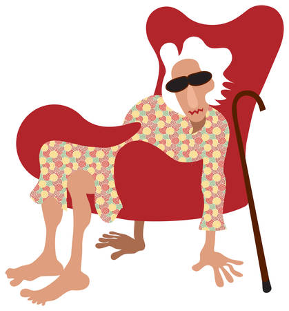 she: Old lady sitting in armchair without legs. Instead she keep floor with her hands and feet. Vector illustration.