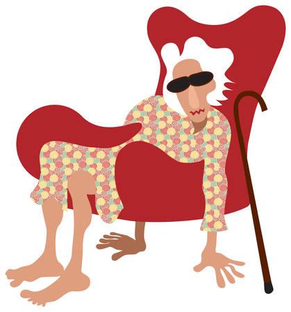 pensioen: Oude dame zittend in een stoel zonder benen. In plaats daarvan houden ze vloer met haar handen en voeten. Vector illustratie.
