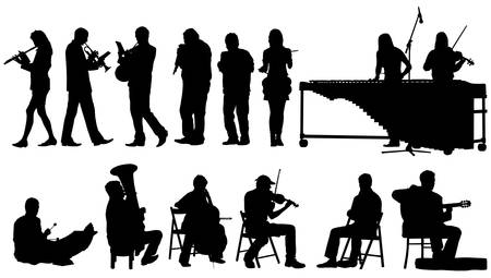 Over ten performing musicians. Separated poses over white background. Vector illustration.
