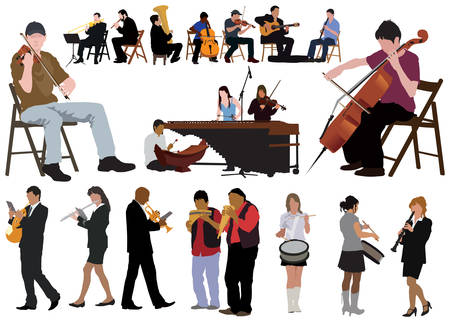 Twenty performing musicians. Separated poses over white background. Color vector illustration. Illustration