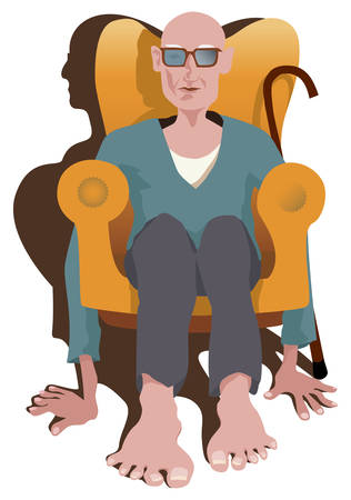 Old man sitting in armchair without legs. Instead he keep floor with his hands and feet. Picture show how difficult is pensioner life. Vector illustration. Illustration