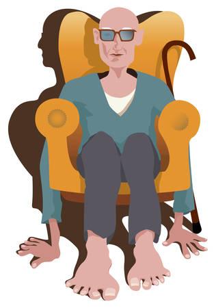 vieil homme assis: Vieil Homme assis dans le fauteuil sans jambes. Plut�t il tenir parole avec ses mains et des pieds. Image montrent combien est difficile la vie de retrait�. Illustration vectorielle.