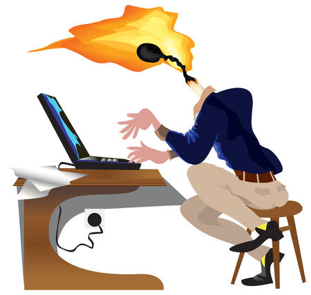 Employee cartoon working on laptop with bright idea as burning match with flame instead head.
