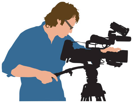 omroep: illustratie van professionele werken met camera