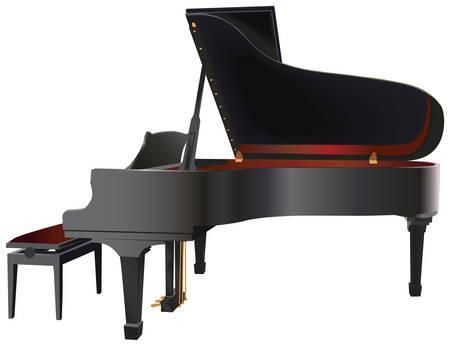 entertaining: Vector illustration of Grand Piano musical instrument.