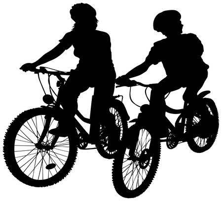 Young teenagers on bicycles.  Illustration