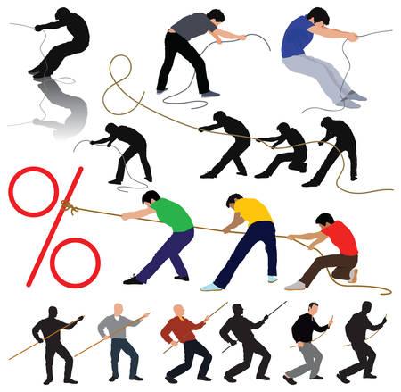 Stretching idee - silhouetten het touw trekken. Groep die zich uitstrekt percentage en & symbool. Vector kleur illustratie.  Vector Illustratie