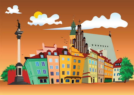 at town square: Vector color illustration of Castle Square in Warsaw Old Town