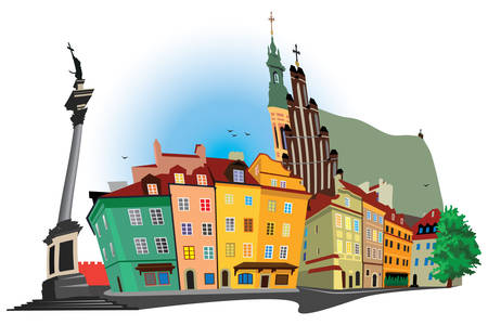 panoramic view: Humouristic nice old part of Warsaw. Castle square panoramic view. Color vector illustration. Illustration