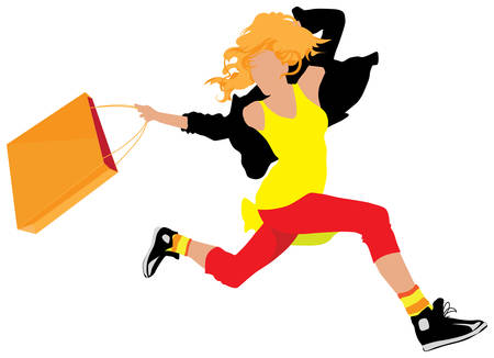 Young shopping girl running with paper bag