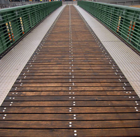 Passover bridge to Berlin Main Station. Combined materials wood and iron. photo