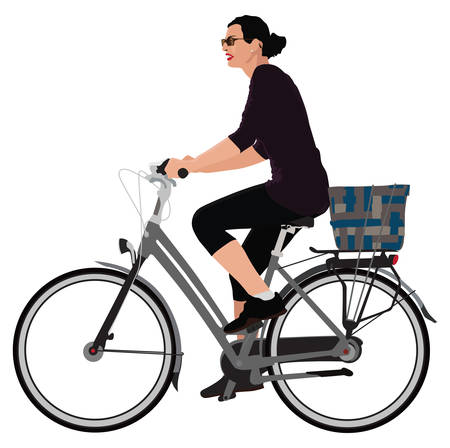 Realistic color illustration of young lady riding bicycle.