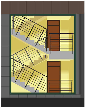 View on staircase through the huge window on building facade. Vector