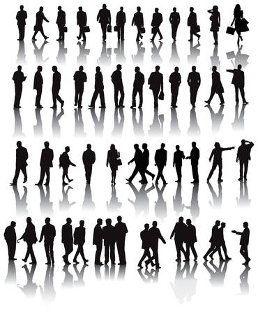 business people walking: Over fifty black silhouettes with shadow refletions.