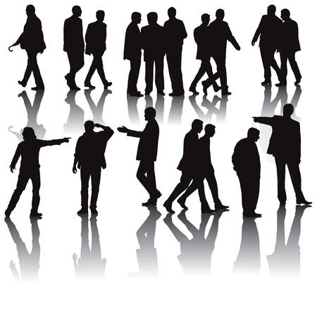 Black illustration of men in the office dressed in suit. Isolated with shadows on white background. Illustration