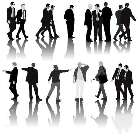 Ilustraci�n monocrom�tica de los hombres en la Oficina de vestido con traje. Aisladas con sombras sobre fondo blanco.