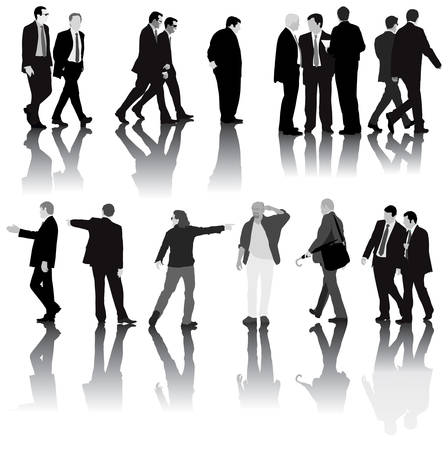 Monochromatic illustration of men in the office dressed in suit. Isolated with shadows on white background. Vector