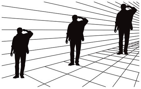 perspektiv: Optical illusion about different size in perspective. All three men silhouettes are same size.