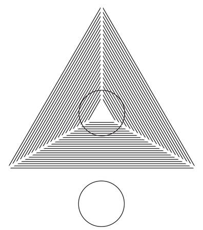 perceptual: Optical illusion. Round circle on the lines triangle is identical as the one below.