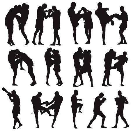 Colecci�n de ilustraci�n de Muay Thai arte marcial. Sobre veinte de poses de lucha.