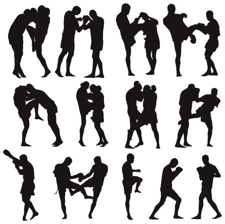 Muay Thai martial art illustration collection. Over twenty fight poses. Stock Vector - 7177970
