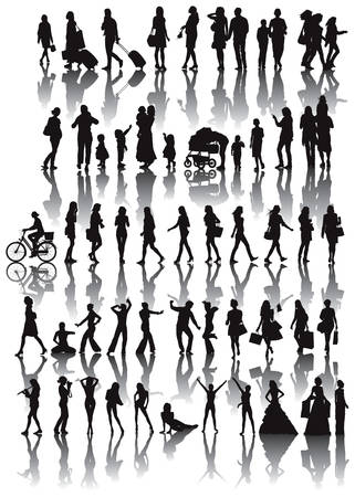 Over fifty black silhouettes of woman. Life situations from walking,travel, motherhood, marriage to dance. Stock Vector - 7177969