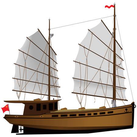 Chinese sailing ship color illustration. Illustration
