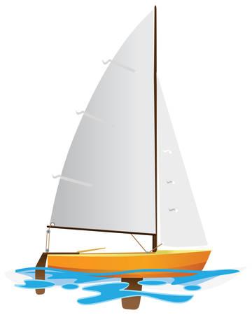 Bote de vela flotando en la superficie del agua. Ilustraci�n de color.  Vectores