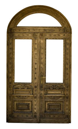 wood carving door: Classical wooden doors from Napoleon time. Isolated on white Stock Photo