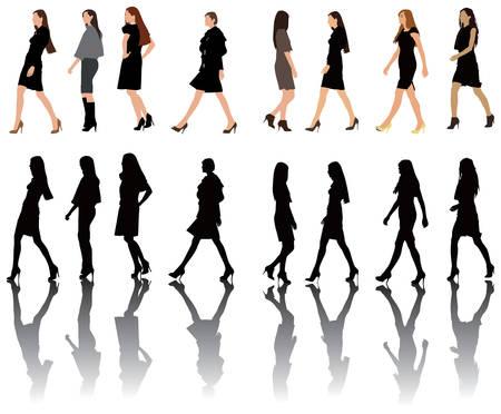 Grupo de modelos posando en desfile de moda.  Vectores