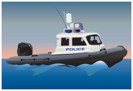 Polic�a guardacostas bote a motor en la superficie del agua. Ilustraci�n de color.