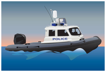 Police coast guard motor boat on water surface. color illustration.