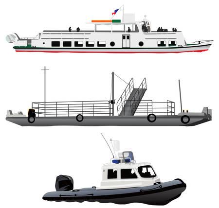 Buque de pasaje, ferry peque�o barco y motor de guardias de la costa de pontones.
