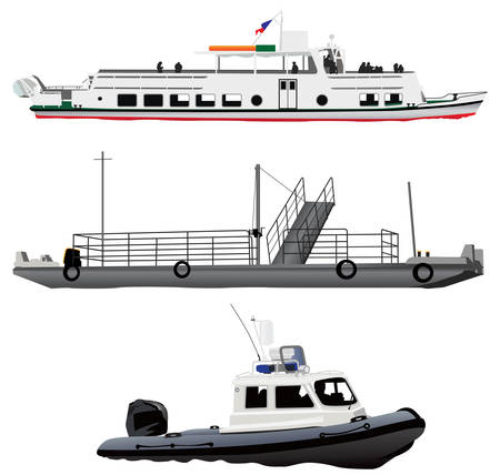 ferry: Passenger ship, small ferry boat and coast guards motor pontoon.  Illustration