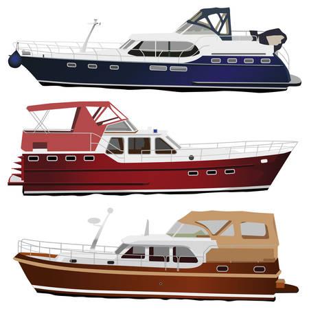 boating: Middle size sea motor yachts. illustration, isolated on white.