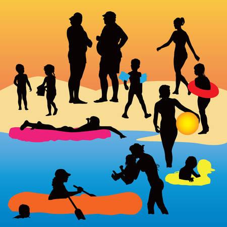Holiday color   illustration. Kids and parents enjoy hot weather. Illustration