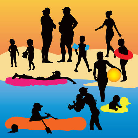 Holiday color   illustration. Kids and parents enjoy hot weather. Illustration