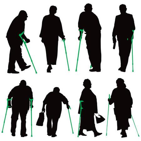 personas ancianas: Antigua colección ilustración de personas discapacitadas.  Vectores