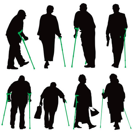 health elderly: Disabled old people illustration collection.