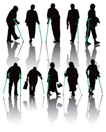 personas ancianas: Diez siluetas de personas de edad y los discapacitados. Ilustración sobre fondo blanco.