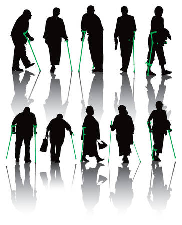 health elderly: Ten old and disabled people silhouettes. illustration on white background.
