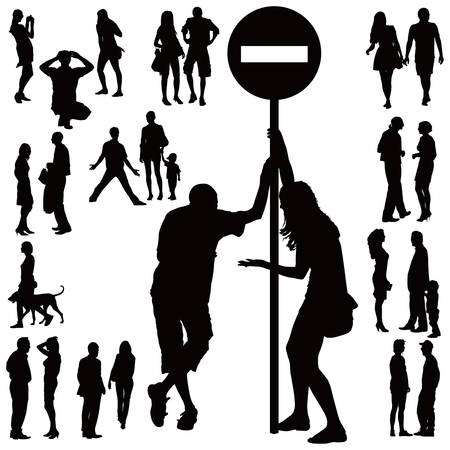 family discussion: Over ten black silhouettes of young couples over white background. Talking, standing, argueing,walking.