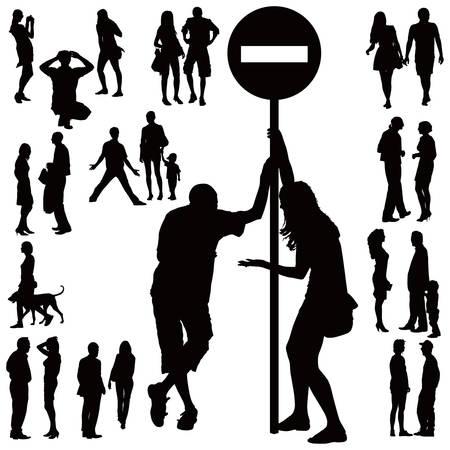 Plus de dix silhouettes noirs de jeunes couples sur fond blanc. Parlant, debout, argueing, marche.