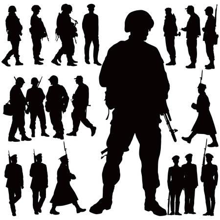 silhouette soldat: Soldats et policier vector illustration collection. Vingt personnes. Illustration