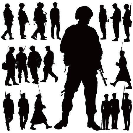 Soldiers and policeman vector illustration collection. Twenty people. Vector