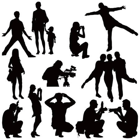 Fifteen vector black silhouettes on white. People taking photos and posing. Illustration