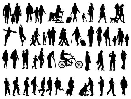 Another over fifty people black silhouettes on white background. Vector illustration. Walking families, friends, dancers,children and guys. Vector