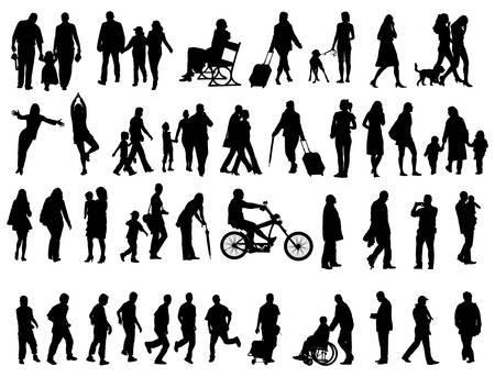 Otro sobre siluetas de cincuenta personas negras sobre fondo blanco. Ilustración vectorial. Caminando a las familias, amigos, bailarines, los niños y muchachos.