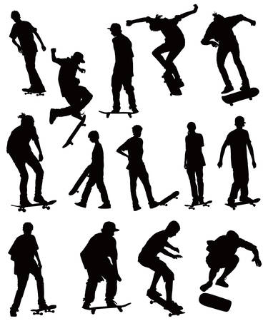 skateboarder: Skate board black silhouettes vector collection on white background
