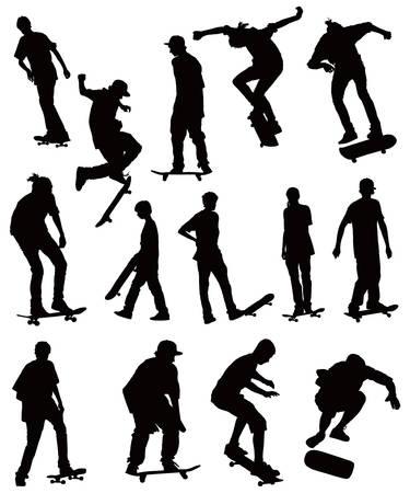ni�o en patines: Skate board negras siluetas de vectores colecci�n sobre fondo blanco
